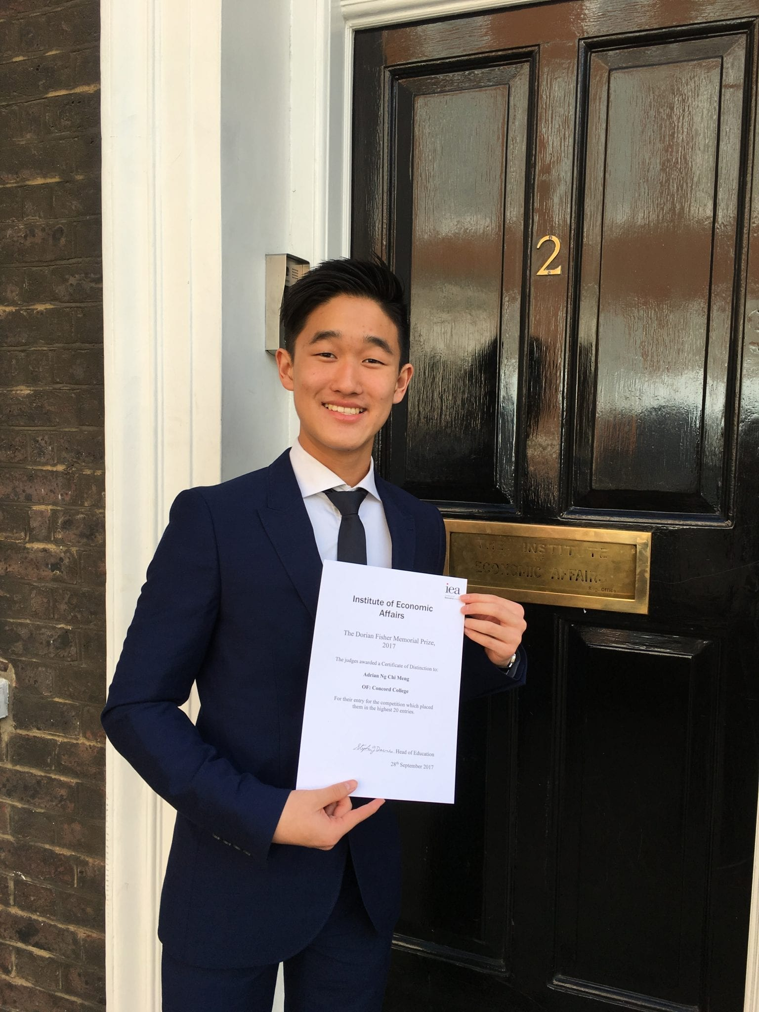 concord student s essay success in iea competition concord college concord sixth form student adrian ng has ed london to attend a prize giving event for an essay he has written he was awarded a certificate at a